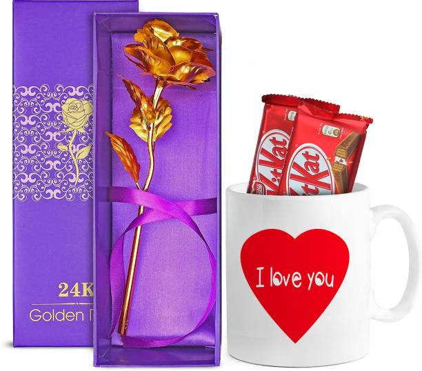 TIED RIBBONS Valentine's Day Gift Pack for Boyfriend, Girlfriend, Wife, Husband, Fiance(Printed Coffee Mug, Kitkat chocolates, 24K Gold Plated Rose) Assorted Gift Box