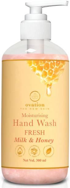 Ovation The New Skin   Hand Wash Moisturising Fresh Milk & Honey   Free of Parabens, Sulphate, Silicone, Mineral Oil   Hand Wash Pump Dispenser