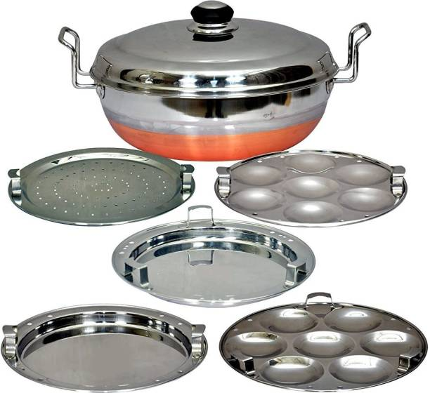 Jamuna All-in-One Stainless Steel Idli Cooker Multi Kadai Steamer Copper Bottom With Lid, Big Size with 5 Plates 2 Idli, 2 Dhokla, 1 Patra Plate Induction & Standard Idli Maker Multi Kadhai,Pot Pan Set Combo Tope Copper Tapeli/Patila/Cookware/Dhokaliyu/Dhokla Maker, Patra Maker, Momo's, Curries ,Handi Copper Bottom Bowl Set Dhokli Maker Set, Cooking Ware (KitchenWare/Home Appliances)Cooking Ware Cookware Combo Multi Purpose Unique Latest Design Good Quality Handi Bowl Idli Maker Paddu Maker / Dhokla Making Kadai Cooking Set Standard Idli Maker (5 Plates , 14 Idlis ) Induction & Standard Idli Maker