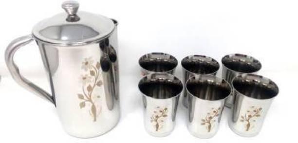 FoodNest 1800 ML FLOWER/LASER JUG AND 06 LASER GLASS Jug Glass Set
