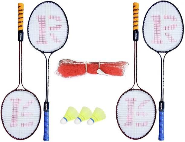 Ostrich Double Shaft Badminton Racket Pack Of 4 Piece With 3 Piece Plastic Shuttle And 1 Piece Badminton Net Badminton Kit