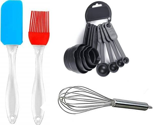 Innovegic Multicolour Measuring Cup and Spoon Set, Silicone Spatula and Oil Pastry Brush with Steel Egg Whisker Beater Latte Maker Combo Set Multicolour Measuring Cup and Spoon Set, Silicone Spatula and Oil Pastry Brush with Steel Egg Whisker Beater Latte Maker Combo Set Silver, Multicolor Kitchen Tool Set
