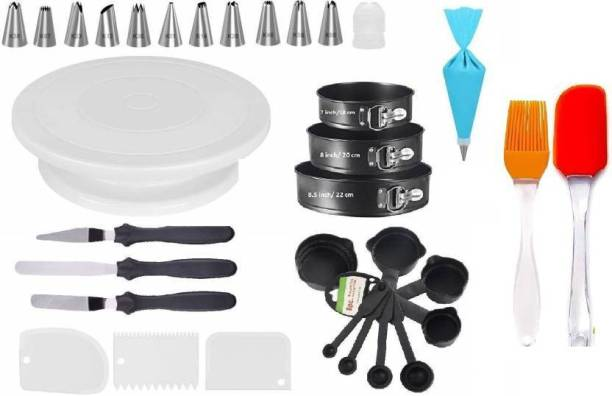 SCIVER x-5 All In One Bakeware Cake Combo Tools Cake Baking and making Tools Combo For Cake Decoration At Home, Kitchen And Store Kitchen Tool Set Cake Tools Round Easy Rotate Turntable +12 Piece Piping Bag Nozzles Cake Decorating Tool Set Frosting Icing Cream Syringe Piping Bag Tips With Steel Nozzles Muffin Dessert Decorators Reusable & Washable Kitchen Tool Set + Multipurpose Heat Resistant Baking Oil Cooking Silicone Spatula and Pastry Brush Set For Cooking + 3 Pcs and Set Scraper Dough Fondant Scraper, Icing Smoother, Baking Supplies Baking CombO + 8-Pc Black Measuring Cups (240 ml, 120 ml, 60 ml, 30 ml, 10 ml, 5 ml, 2.5 ml, 1.2 ml) + Carbon Steel Metal Made Cake Pan Set Comes In 3 size 22 cm, 20 cm, 18 cm (ROUND MOULD SET OF 3) + Easy to Handle Ergonomic Handle Designed To Be More Comfortable In Your Hand(Set Of 3 Spatula Knife Set) and Server Set Popular Combo 7 in 1 BAKING TOOLS SET Multicolor Kitchen Tool Set