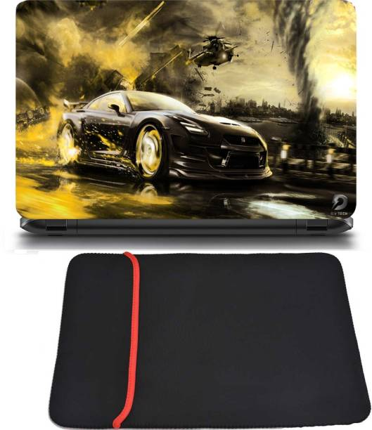 D.V TECH EXCLUSIVE PACK OF CAR RACING AND LAPTOP BAG 15.6INCH LAPTOP SKIN BUBBLE FREE LAPTOP SKIN Combo Set