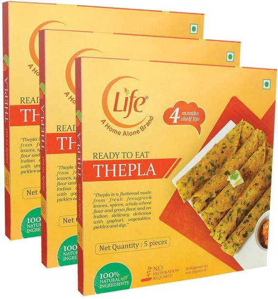 Life Ready to EAT Whole Wheat Flour | Methi THEPLA | Lunch/ Dinner (200g Each)-Pack of 3 - (Combo Pack 600g) 600 g