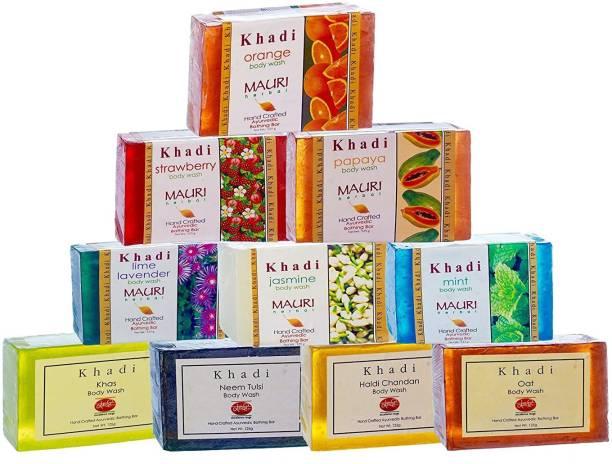 Khadi Mauri Herbal Ayurvedic Soap, Assorted, 125g (Pack of 10)