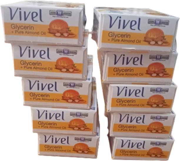 Vivel Glycerin soft moisturized skin soap 75gm( pack of 10)