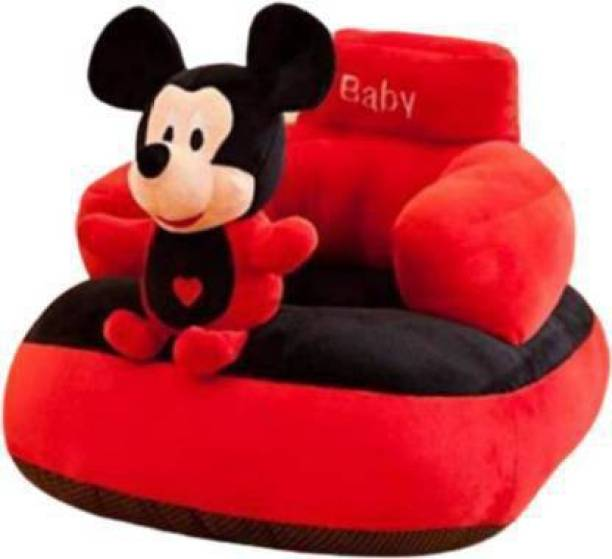 Urban Gold Soft and Luxurious Mickey Look Baby Sofa Seat in Attractive Red Colour With Wide Space for Sitting Suitable for Boys and Girls Fabric Sofa  - 92 cm