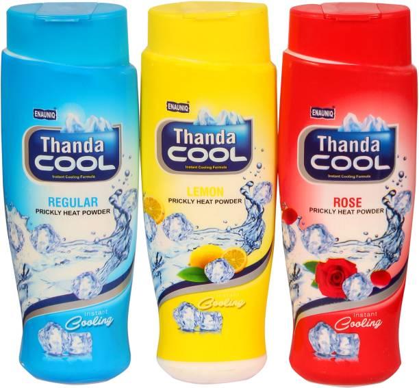 ENAUNIQ Thanda Cool Prikly heat powder 150g (Regular,Lemon,Rose,)