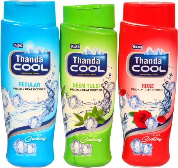 ENAUNIQ Thanda Cool Prikly heat powder 150g (Tulsi,Regular,Rose,)