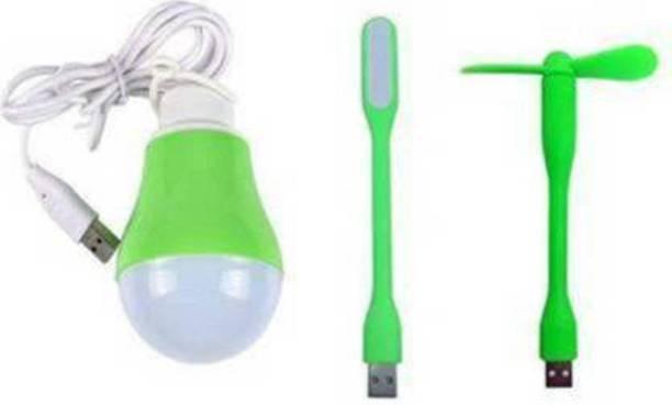 Gacher Set Of 1 USB Light + Fan & 5W Wire Bulb Portable & Flexible Light, Fan, Bulb (5W) For PC, Laptop, Mobile, Power Bank Led Light, USB Fan