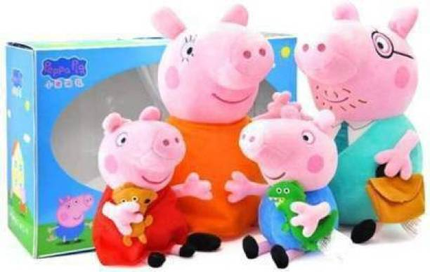 Tenmar Peppa Pig Family Toy, Set of 4 , Action Figure ,Original Animated Toys for Children (Multicolor) (Multicolor)