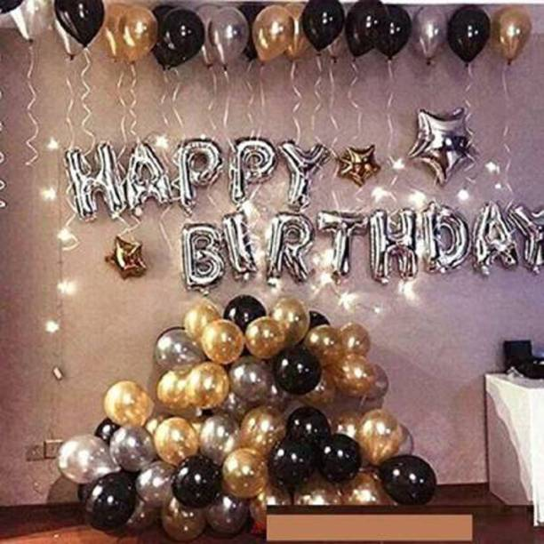 YNS Crafts Stock Solid Solid Happy Birthday Foil Letter Balloon Set Of 63 Balloons 13 Happy Birthday foil balloon 50 Black Gold Silver Metallic Balloons Balloon