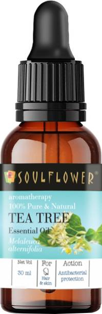 Soulflower Tea Tree Essential Oil (30 ml)| 100% Pure, Natural and Undiluted for Hair, Skin and Face