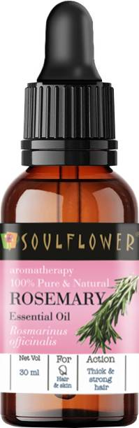Soulflower Rosemary Essential Oil (30 ml)| 100% Pure, Natural and Undiluted for Hair, Skin and Face