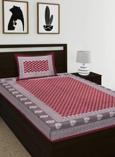 RAW WASH 104 TC Cotton Single Jaipuri Prints Bedsheet