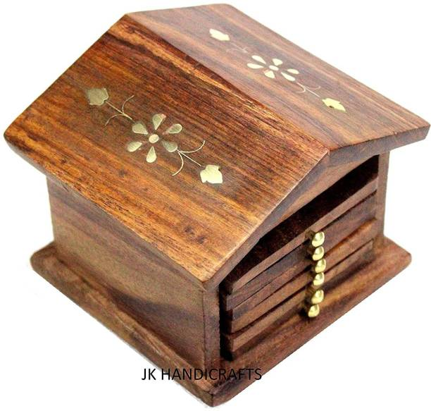 Jk Handicrafts Rectangle Wood Coaster Set
