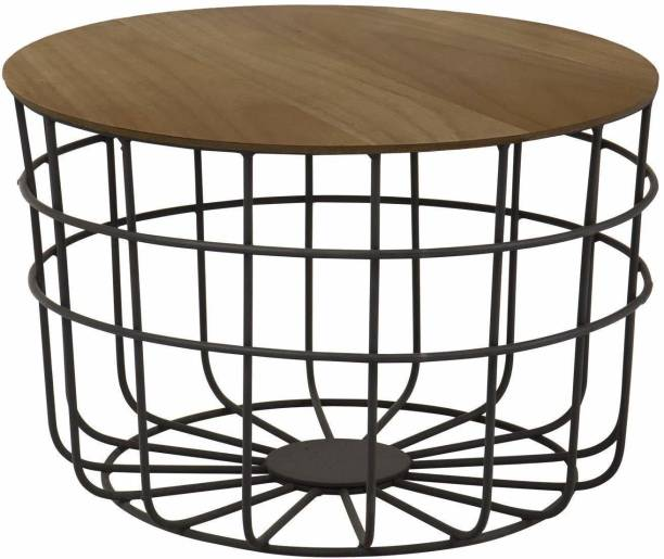 PRITI Round Coffee Table for Living Room Engineered Wood Coffee Table