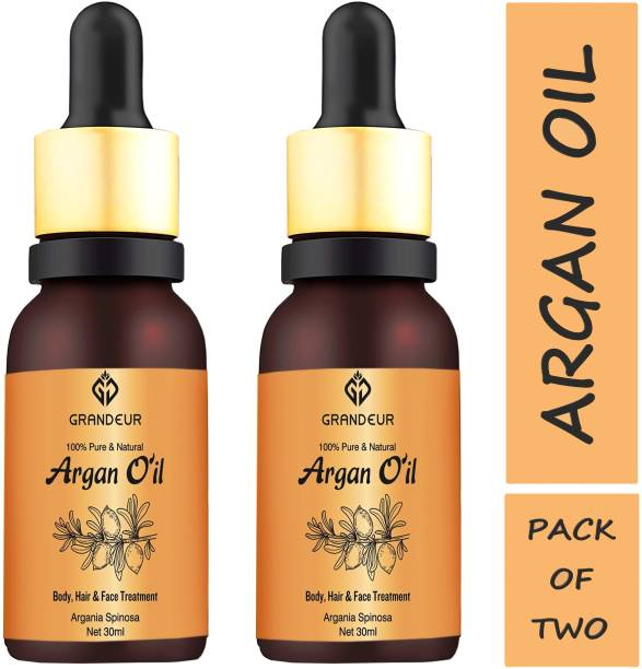 Grandeur PACK OF 2 100% Pure & Natural Moroccan Argan Oil 30ml, for Dry and Coarse Hair & Skin care 30mL+ 30mL Hair Oil