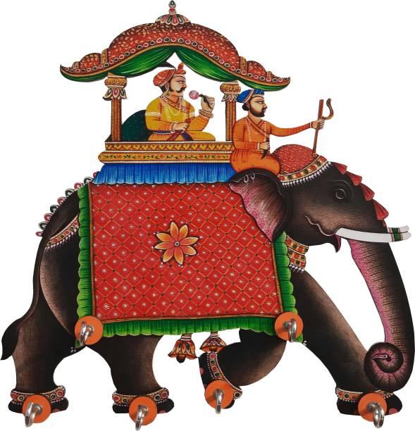 Shiva Arts Ambawari elephant Wood Key Holder