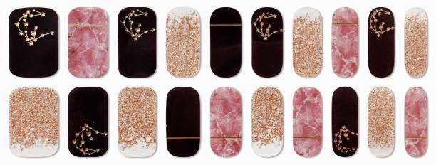 DAHUF 20 Sheets Mix Design Stickers Metallic For Nail Art And Nail Tip Decoration
