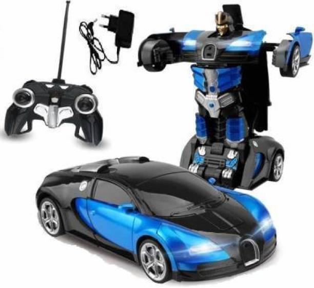 Jakas Mart Converting Car to Robot, Robot to Car with Light and Sound for Kids (Blue, Black)