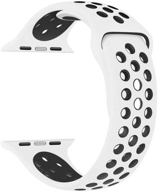 Tingtong Soft Silicone Sport 42mm/44mm White and Black Air Hole Smart Watch Strap