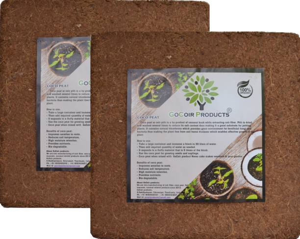 GoCoir Products Cocopeat powder (10Kg block) Coir pith Soil manure for kitchen and terrace gardening. Potting Mixture