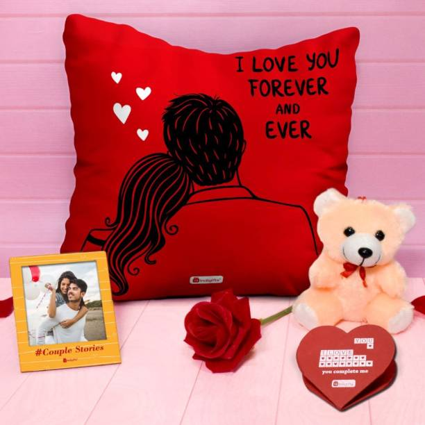 Indigifts Cushion, Artificial Flower, Greeting Card, Soft Toy, Photoframe Gift Set