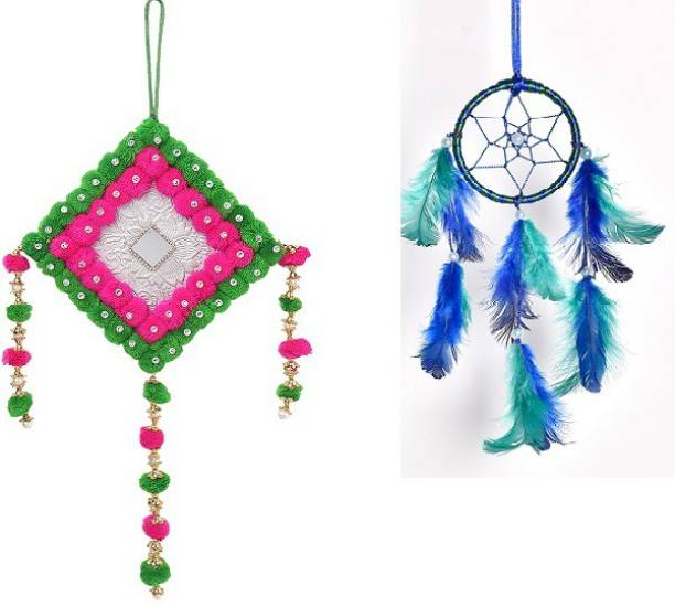 Meher Collection Multicolor Wall hanging combo Wool Dream Catcher