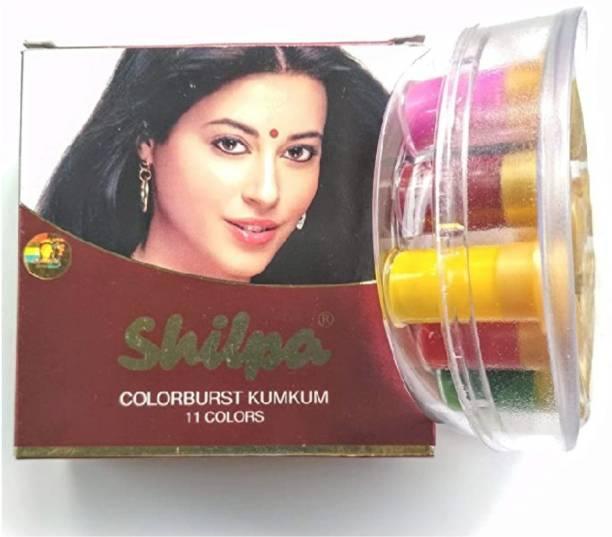 Shilpa Multi-Colored 11 In 1 Color Forehead Multicolor Bindis Liquid Multi-colored Kumkum occasion Multicolor Bindis