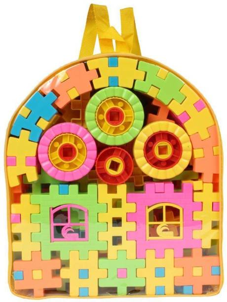 Planet of Toys Educational Learning Building Block in the Bag Set of 118 Pcs For Kids, Children