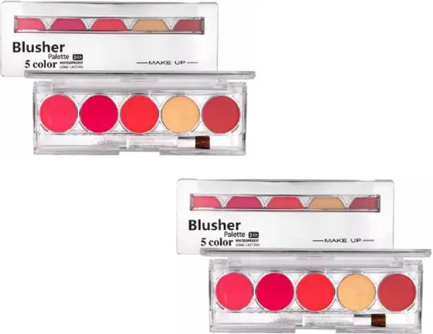 THTC 5 MULTI SHIMMERY COLOR BLUSHING BLUSHER PALETTE COMBO OF 2