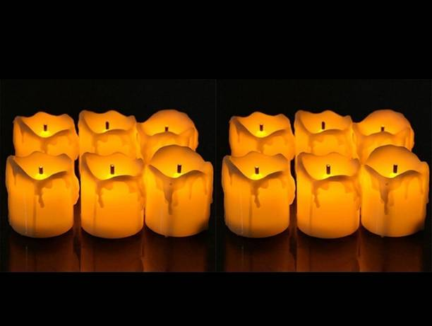Satyam Kraft LED Tea Light Candles Diwali Gift /Home Decor/ Wedding/ Festivals / Anniversary / Diwali Decor /Gift- Yellow (Box Of 12) Candle