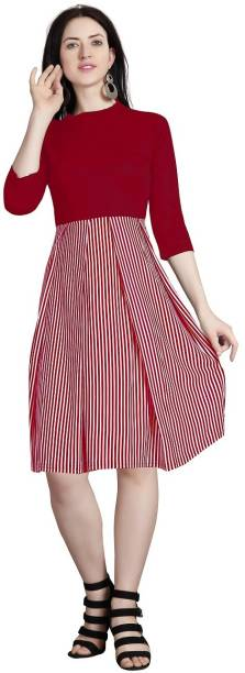 Availkart Women Fit and Flare Maroon Dress