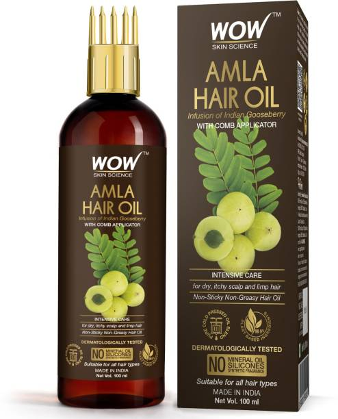 WOW SKIN SCIENCE Amla Hair Oil - Pure Cold Pressed Indian Gooseberry Oil - Intensive Hair Care - with Comb Applicator - Non-Sticky & Non-Greasy - No Mineral Oil, Silicones, Synthetic Fragrance - 100mL Hair Oil
