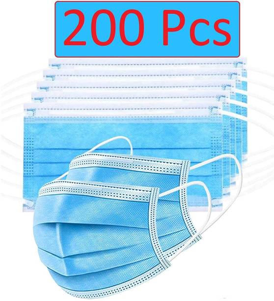 TAOS 3 Layer Disposable masks 200 Pieces Spun Bond Non-Woven Fabric CE,ISO and WHO-GMP Certified (BFE)?98.5%, Particle Filtration Efficiency(PEE)?94% with Adjustable Pin Inside Surgical Mask With Melt Blown Fabric Layer (Blue, Free Size, Pack of 100, 3 Ply) SURGICAL-200 mask 113 Surgical Mask With Melt Blown Fabric Layer