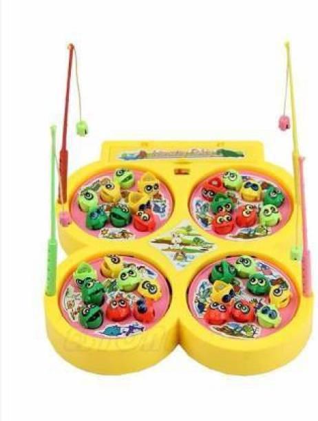 AKANSHA Fish Catching Game / Fishing game / Fishing toy with 32 Pcs of Fish, 4 Pods (Yellow)