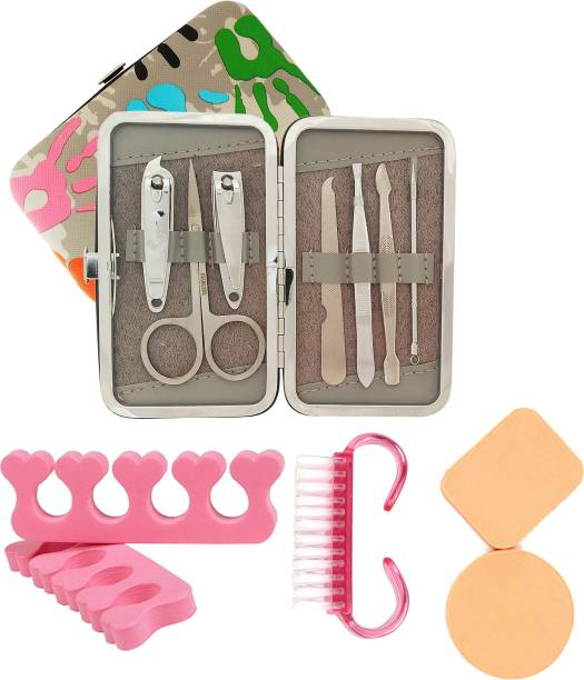 MGP FASHION High Quality Home & Professional Manicure Cosmetic Puff Makeup Pedicure Set Blackhead Acne Pimple Remover Nail Clippers eyebrow shaping Plucker Tweezer ear pick Stainless Steel Scissor Grooming Kit Nail Polish Sponge ,Nail Brush Easy Grip for Men, Women, Kids and All Purpose Travel Tools For all types of skin