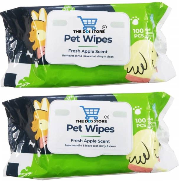 THE DDS STORE DOG Pet Wipes 100pc Pack Pet Ear Eye Wipes (Pack of 2) Pet Ear Eye Wipes