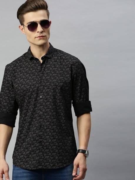 MAST & HARBOUR Men Printed Casual Black Shirt