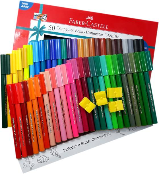FABER-CASTELL Majestic Basket 50 Shades Connector Pens With 4 Greeting Cards Alongwith 4 Super Connectors Nib Sketch Pen  with Washable Ink