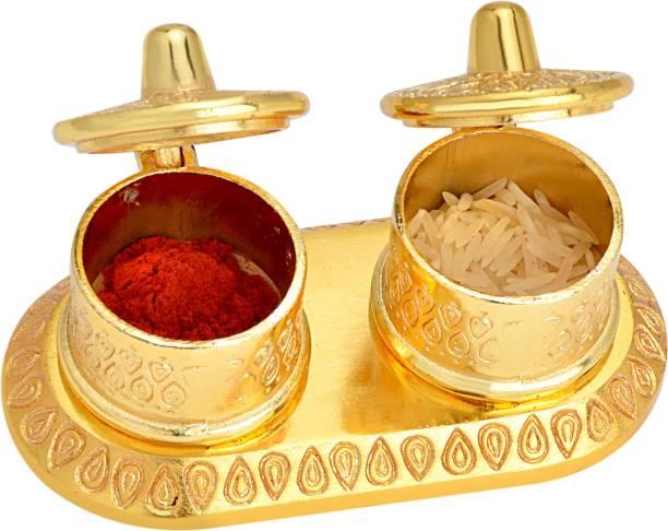 AJ Creations Double Beautiful Decorative Gold Metal Plated Roli Chawal|Ashat|Haldi|Chandan|Kumkum Box For Pooja and Gift Decorative Showpiece  -  5 cm