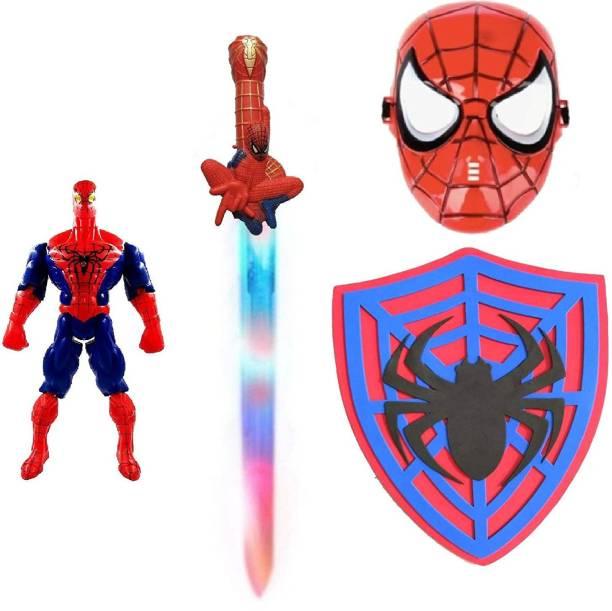 IndusBay SuperHero Spider Weapon Set Light and Sound Sword & Shield , Plastic MASK , Spider Figure - Light and Sound Toy Set