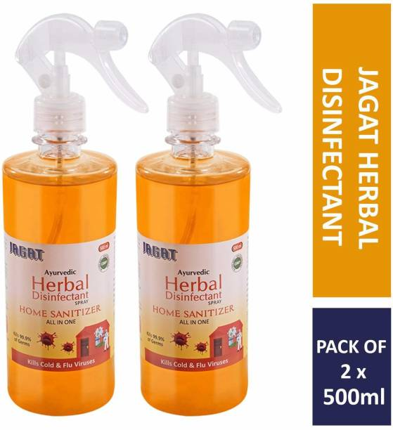 Jagat Home Sanitizer, All-In-One Purpose Spray Disinfectant, Ayurvedic | 70% Alcohol-based | Herbal, Instant, Tulsi & Neem Leaf Extracts |For Cold & Flu Germs, Bacteria & Viruses