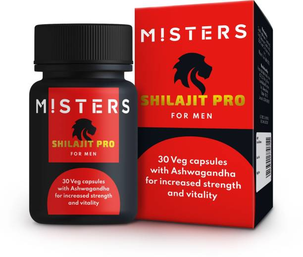 Misters SHILAJIT PRO with Ashwagandha 100% Vegetarian for Extra Power, Strength, Stamina & Vitality for Men 550mg