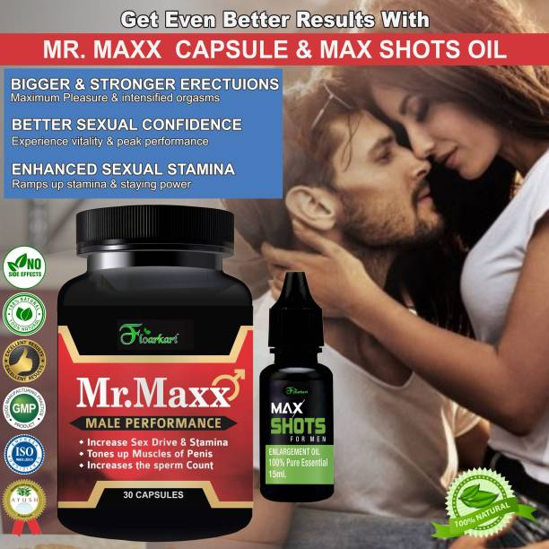 Floarkart Mr. Max Capsules & Max Shots Oil For Helps You To Enjoy Sexual Stamina & Vitality (30 Capsules+15ML)
