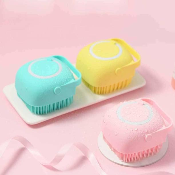 RiverFab Silicone Body Scrubbers Brush for Use in Shower, Silicone Massage Exfoliating Bath Brush With Soap Dispenser, Deep Cleaning, Reusable Loofa for Men Women Kids | Silicon Body Bath Brush, Silicone Soft Bath Body Brush with Shampoo Dispenser - Skin Massage Brush Bath Bathroom Accessories - 1 PCS (Multi Colour)