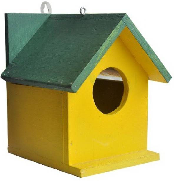 ganga enterprise Bird House Bisrd Nest For Sparwrow Green Yellow Colour with Door to Clean Nest Bird House
