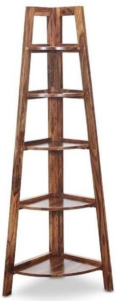 Deuba Edison Sheesham Solidwood House Corner Wall Rack Shelf Heavy Duty - Honey Teak Brown Solid Wood Display Unit